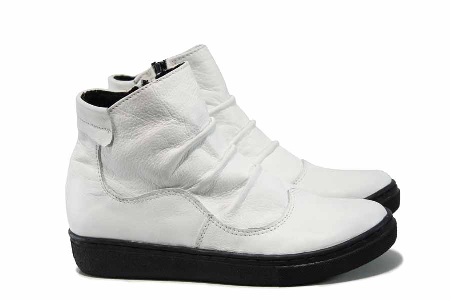 Дамски боти - естествена кожа - бели - EO-11783