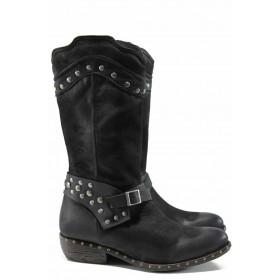 Дамски ботуши - естествена кожа - черни - EO-11795
