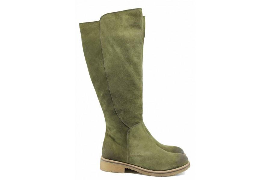 Дамски ботуши - естествен набук - зелени - EO-11794