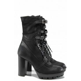Дамски боти - естествена кожа - черни - EO-11792