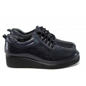 Дамски обувки на платформа - естествена кожа - сини - EO-11839