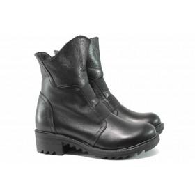 Дамски боти - естествена кожа - черни - EO-11830