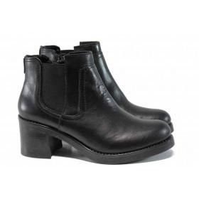 Дамски боти - естествена кожа - черни - EO-11848