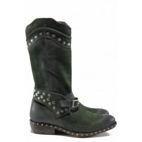 Дамски боти - естествен набук - зелени - EO-11889