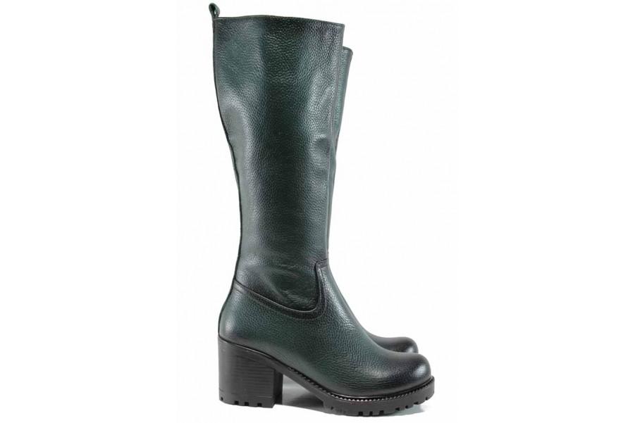 Дамски ботуши - естествена кожа - зелени - EO-11877