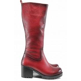 Дамски ботуши - естествена кожа - червени - EO-11879