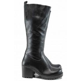 Дамски ботуши - естествена кожа - черни - EO-11878