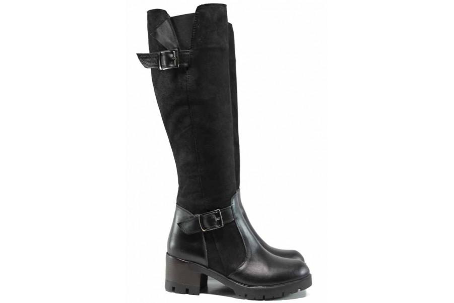 Дамски ботуши - естествена кожа - черни - EO-11882
