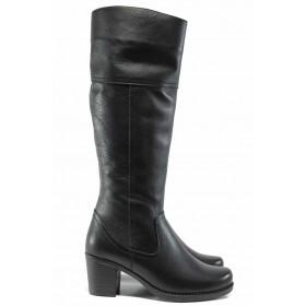 Дамски ботуши - естествена кожа - черни - EO-11880