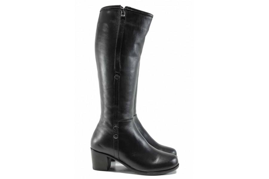 Дамски ботуши - естествена кожа - черни - EO-11892