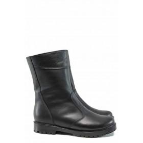 Дамски боти - естествена кожа - черни - EO-11894
