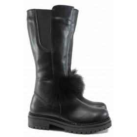 Дамски ботуши - естествена кожа - черни - EO-11902