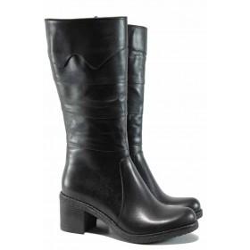 Дамски ботуши - естествена кожа - черни - EO-11905
