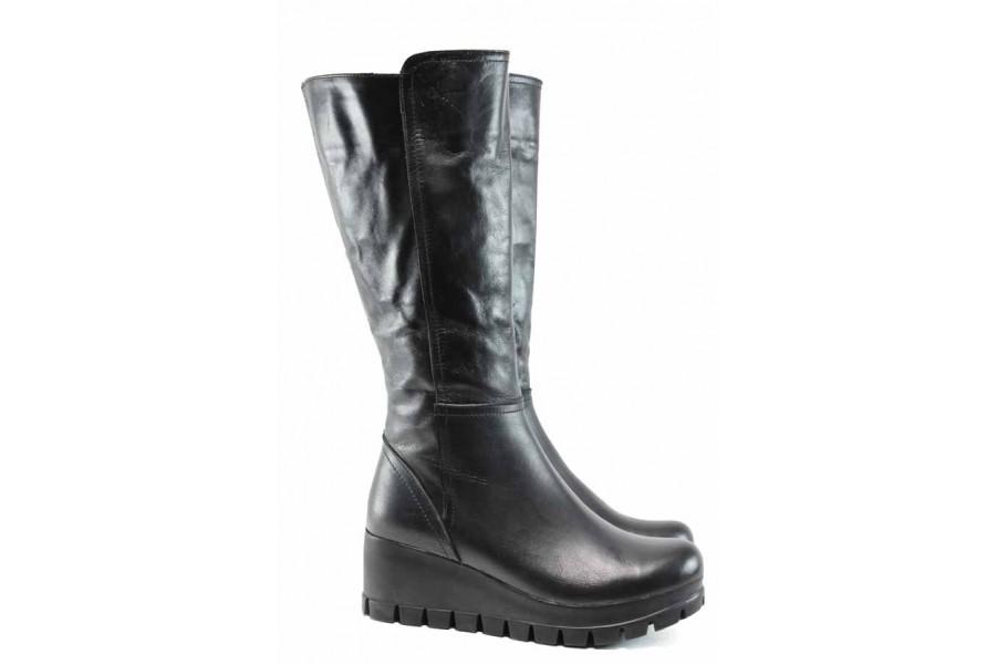 Дамски ботуши - естествена кожа - черни - EO-11903