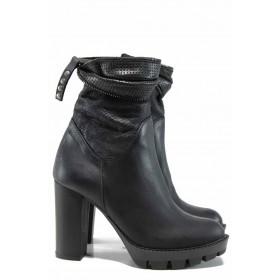 Дамски боти - естествена кожа - черни - EO-11959
