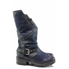 Дамски ботуши - естествена кожа - сини - EO-11957