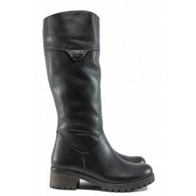 Дамски ботуши - естествена кожа - черни - EO-11955