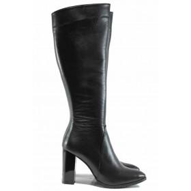 Дамски ботуши - естествена кожа - черни - EO-11954