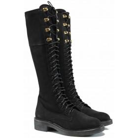 Дамски ботуши - естествен набук - черни - EO-11973