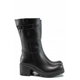 Дамски боти - естествена кожа - черни - EO-11965