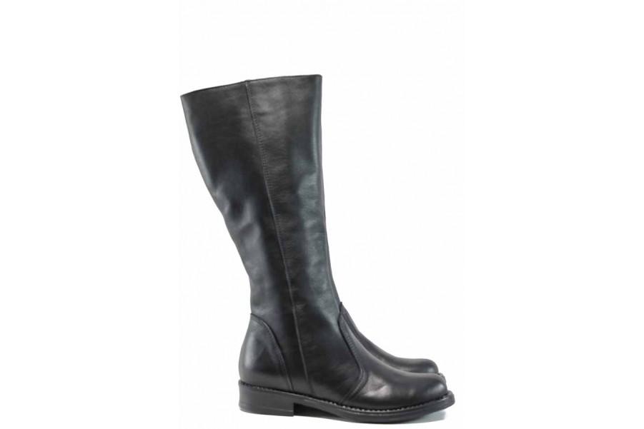 Дамски боти - естествена кожа - черни - EO-11972
