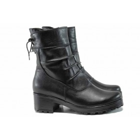 Дамски боти - естествена кожа - черни - EO-11971