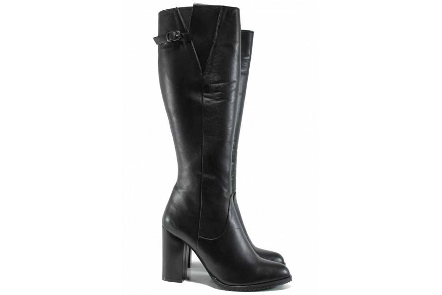 Дамски ботуши - естествена кожа - черни - EO-12005