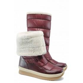 Дамски боти - еко-кожа с текстил - бордо - EO-12007