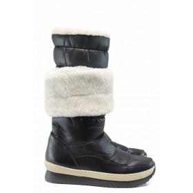 Дамски боти - еко-кожа с текстил - черни - EO-12009