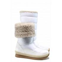 Дамски боти - еко-кожа с текстил - бели - EO-12010