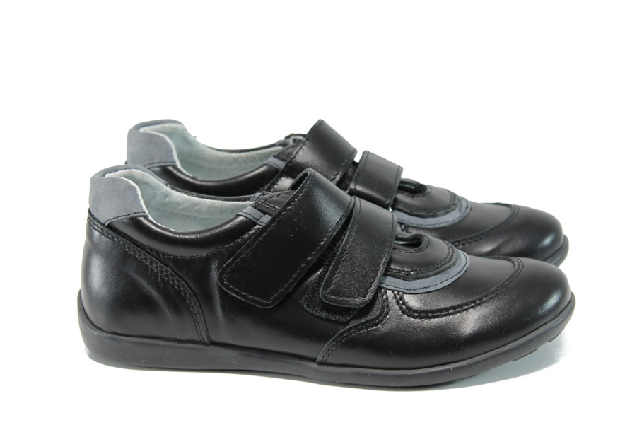 Детски обувки - естествена кожа - черни - EO-10362