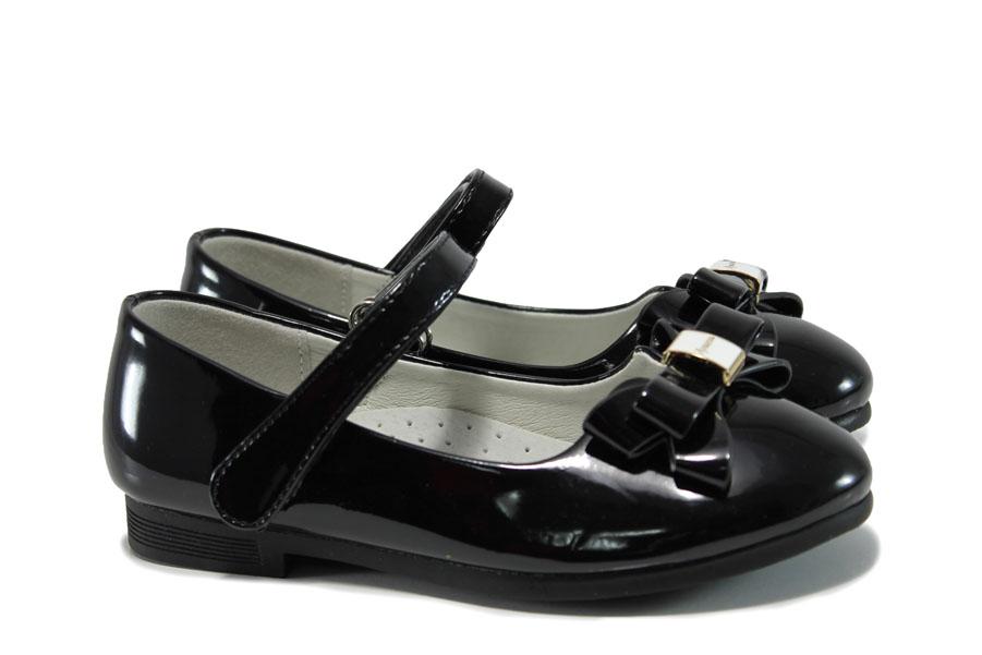 Детски обувки - еко кожа-лак - черни - EO-10377