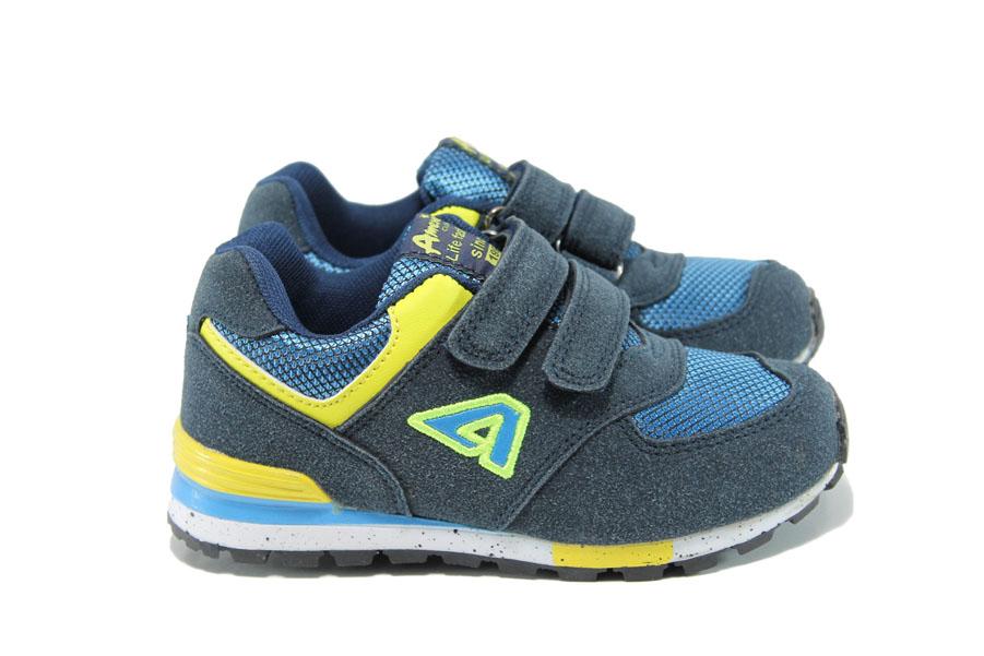 Детски маратонки - висококачествен текстилен материал - сини - EO-10393