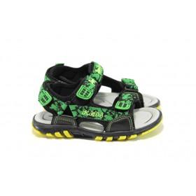 Детски сандали - висококачествен текстилен материал - черни - EO-10429