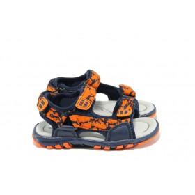 Детски сандали - висококачествен текстилен материал - сини - EO-10430