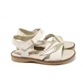 Детски сандали - висококачествена еко-кожа - бежови - EO-10854
