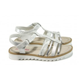Детски сандали - висококачествена еко-кожа - сребро - EO-10850