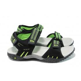 Детски сандали - еко-кожа с текстил - зелени - EO-10881