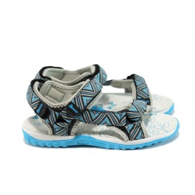 Детски сандали - еко-кожа с текстил - сини - EO-10889