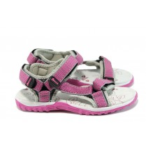 Детски сандали - еко-кожа с текстил - розови - EO-10888