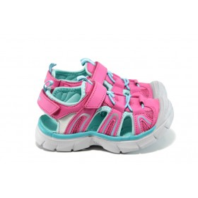 Детски сандали - еко-кожа с текстил - розови - EO-10887