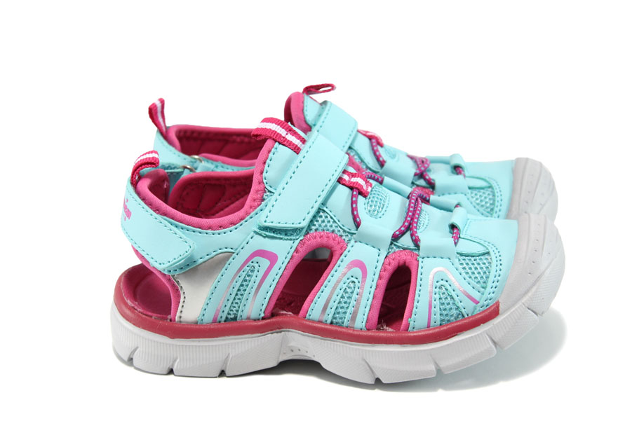 Детски сандали - еко-кожа с текстил - сини - EO-10886