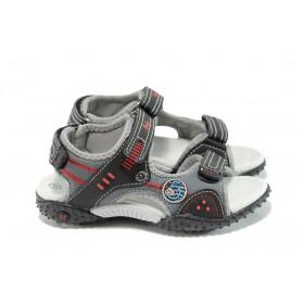 Детски сандали - еко-кожа с текстил - черни - EO-10882