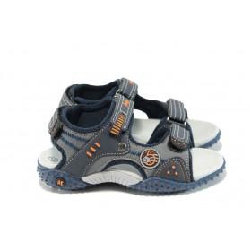 Детски сандали - еко-кожа с текстил - тъмносин - EO-10883