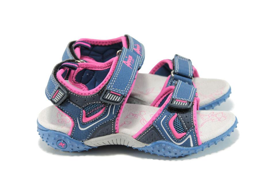 Детски сандали - еко-кожа с текстил - тъмносин - EO-10884