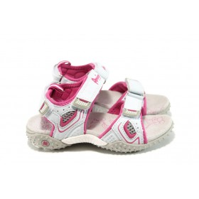Детски сандали - еко-кожа с текстил - бели - EO-10885