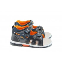Детски сандали - висококачествена еко-кожа - тъмносин - EO-10970