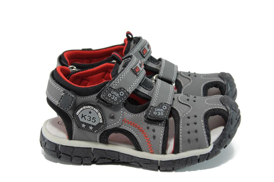 Детски сандали - висококачествена еко-кожа - сиви - EO-10950