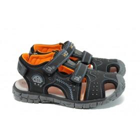 Детски сандали - висококачествена еко-кожа - черни - EO-10949