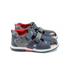 Детски сандали - висококачествена еко-кожа - сини - EO-10959